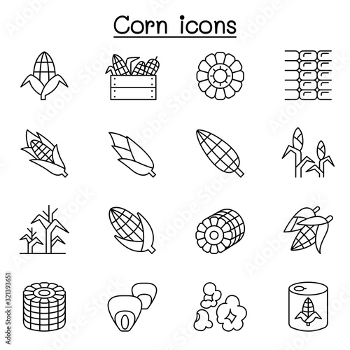 Obraz Corn icon set in thin line style - fototapety do salonu