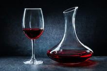 Decanter And Wineglass With Re...