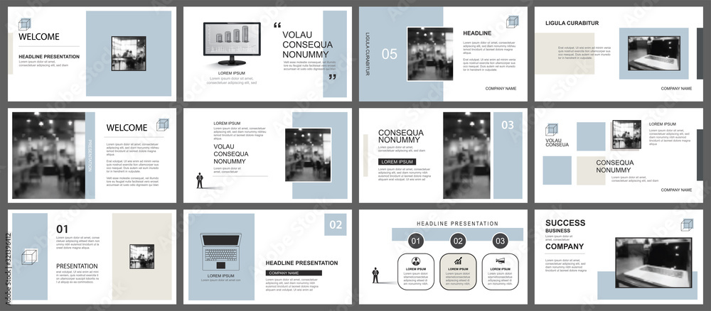 Fototapeta Presentation and slide layout template. Design blue and brown pastel geometric background. Use for business annual report, flyer, marketing, leaflet, advertising, brochure, modern style.