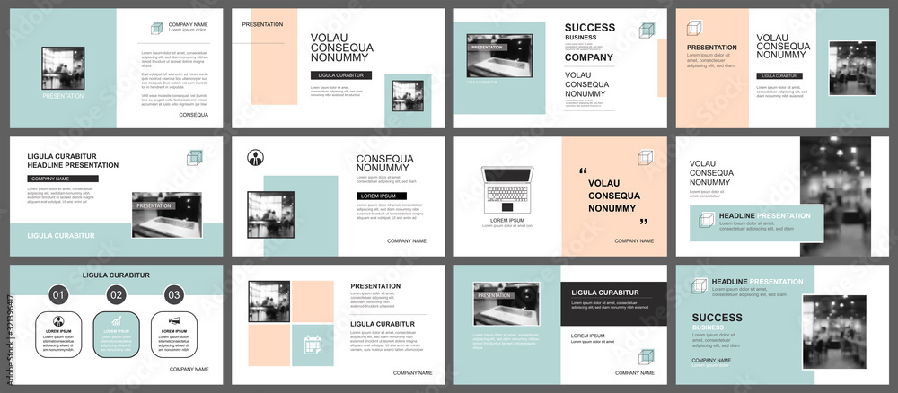 Fototapeta Presentation and slide layout template. Design green and orange pastel geometric background. Use for business annual report, flyer, marketing, leaflet, advertising, brochure, modern style.