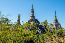 Group Of The Pagodas In Temple Of Wat Chaloem Phra Kiat, One Of The Most Tourist Attraction Place In Lampang Province Of Thailand.