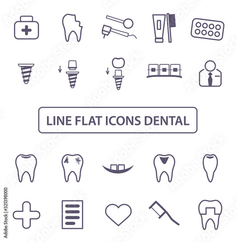 Dental Icons Set Canvas Print