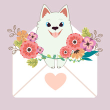 The Character Of Cute Samoyed Dog Sitting In The Letter With Heart Sticker And Flower On The Purple Background. The Cute Dog In Valentines Day Theme. The Character Of Cute Dog In Flat Vector.