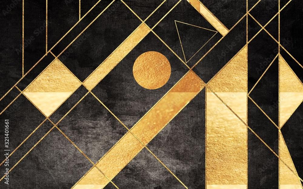 Złota ilustracja graficzna z geometrycznymi wzorami