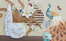 3d Illustration, Beige Background, White Embossed Fabulous Flowers In A Vase, Colorful Peacock On A Pedestal