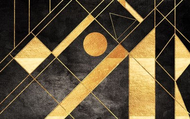 Panel Szklany Podświetlane Abstrakcja Abstract illustration, brown background, golden lines and geometric shapes