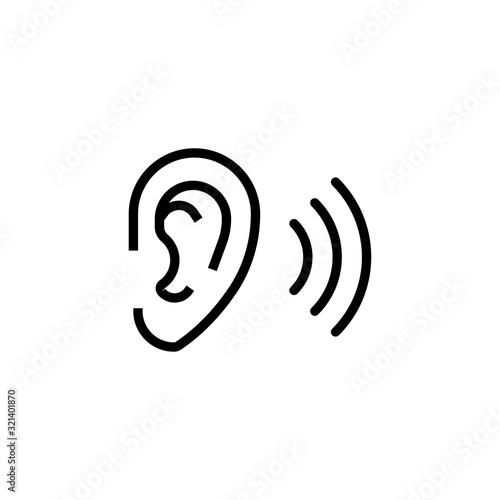 Simple ear line icon. Canvas-taulu