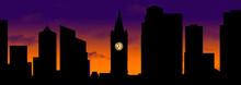 A Clock Tower Is Seen Silhouet...