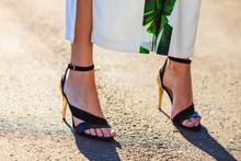 Woman Feet In High Heels Summe...