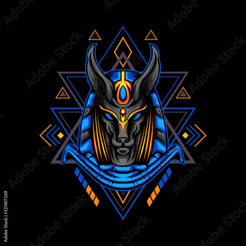 Blue Anubis with Geometry Ornament Wallpaper Mural