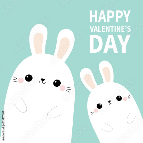 Happy Valentines Day. Two white bunny rabbit hare face silhouette family set. Pink blush cheeks. Cute cartoon funny pet baby character. Funny kawaii smiling animal. Flat design Blue background.