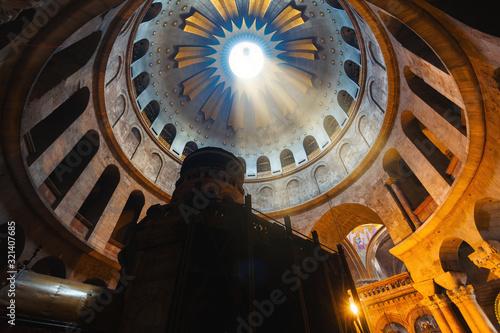 Stampa su Tela Church of the Holy Sepulcher in Jerusalem, Interior, Israel