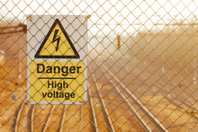 Yellow High Voltage Warning Si...