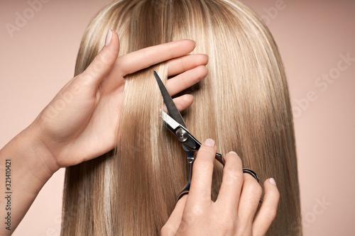 Hairdresser cuts long blonde hair with scissors. Hair salon, hairstylist. Car...