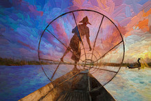 Silhouette Image Of Seen Through Fishing Nets Of Traditional Burmese Fisherman And Unique One-leg Rowing Style During Colorful Evening Sunset At Inle Lake In Shan State, Myanmar.- Oil Painting