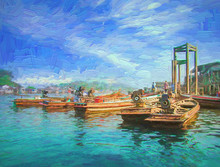Beautiful Image Of Small Boats Parking Waiting For Customers At Seaport Of Myeik Is In The South Of Myanmar In Afternoon Sunny Day.- Oil Painting.