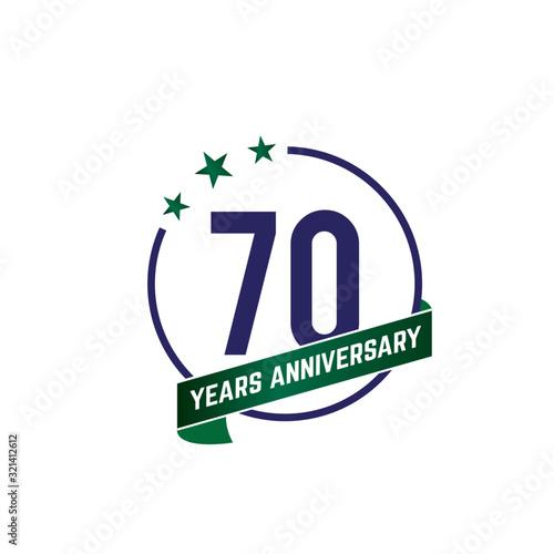 Tela 70 years anniversary logo with blue circle frame and green ribbon