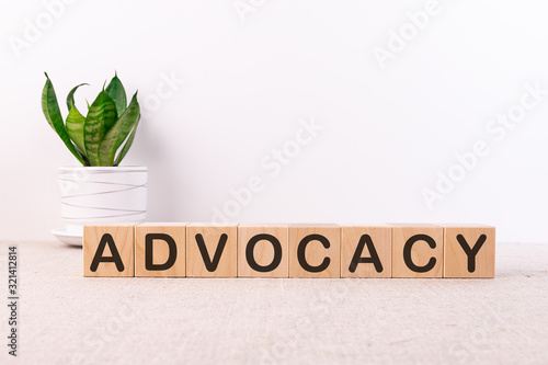 Photo ADVOCACY word made with building blocks on a light background