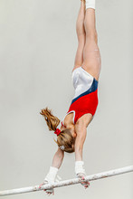 Uneven Bars Woman Gymnast Exercise In Sport Gymnastics