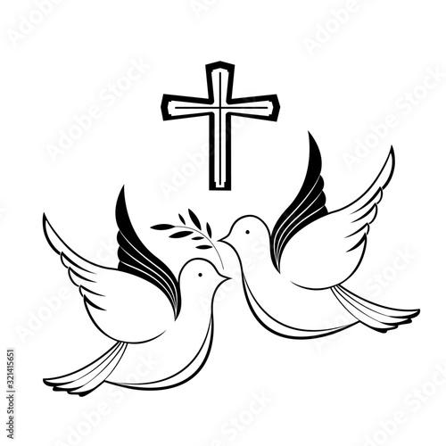 Couple of pigeons and a cross Slika na platnu
