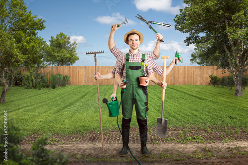 Motivated gardener with multiple arms and tools Fototapeta