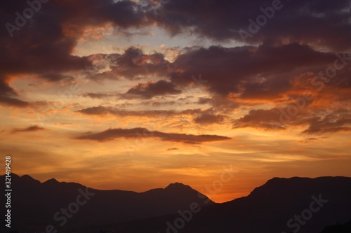 A Philippine Sunset and Mountain Silhouette