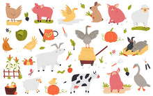 Big Set Of Funny Cute Farm Animals