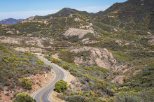 Overlooking A Highway In The Santa Monica Mountains, California