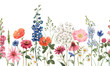 Leinwanddruck Bild - Beautiful floral summer seamless pattern with watercolor hand drawn field wild flowers. Stock illustration.