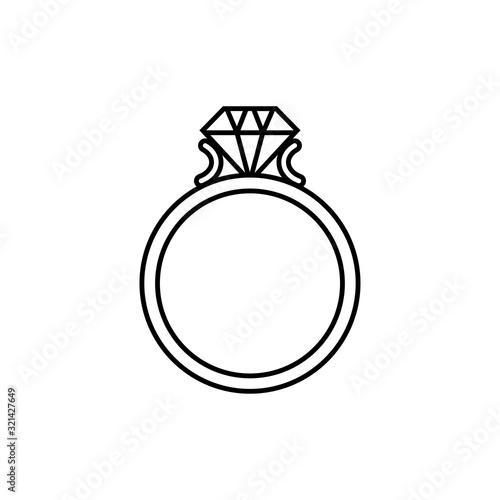Icono plano lineal anillo de compromiso en color negro Tapéta, Fotótapéta