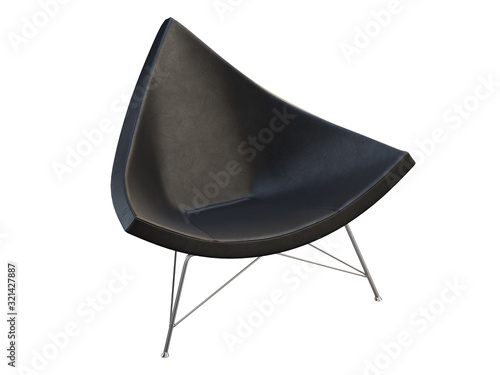 Fototapeta Mid-century black leather chair with white plastic base. 3d render. obraz