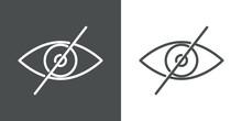 Símbolo Oculto. Icono Plano Lineal Ojo Con Barra En Fondo Gris Y Fondo Blanco