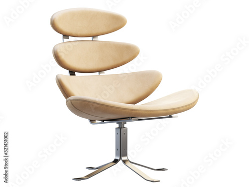 Fototapeta Mid-century modern beige leather chair with chromium base. 3d render. obraz