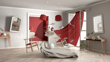 White And Red Living Room, Home Chaos Concept With Chairs And Table, Windows And Curtains, Broken Vase, Furniture And Other Accessories Flying In The Air, Explosion, Gust Of Wind