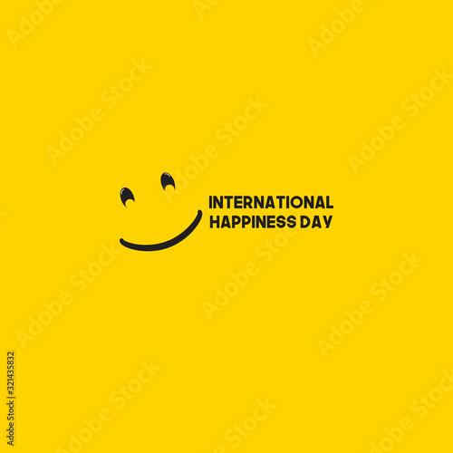 International Happiness Day Celebration Vector Template Design Illustration Wallpaper Mural