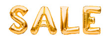 Word SALE Made Of Golden Inflatable Balloons Isolated On White Background. Helium Balloons Gold Foil Forming Word Sale. Discount And Advertisement