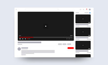 Web Video Player Page Concept. Vector Illustration