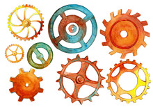 Set Of Watercolor Hand Drawn Brass And Kopper Gears And Cogs.