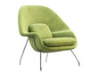 canvas print picture - Mid-century light green fabric chair with chromium legs. 3d render.