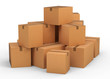canvas print picture - Cardboard boxes on white