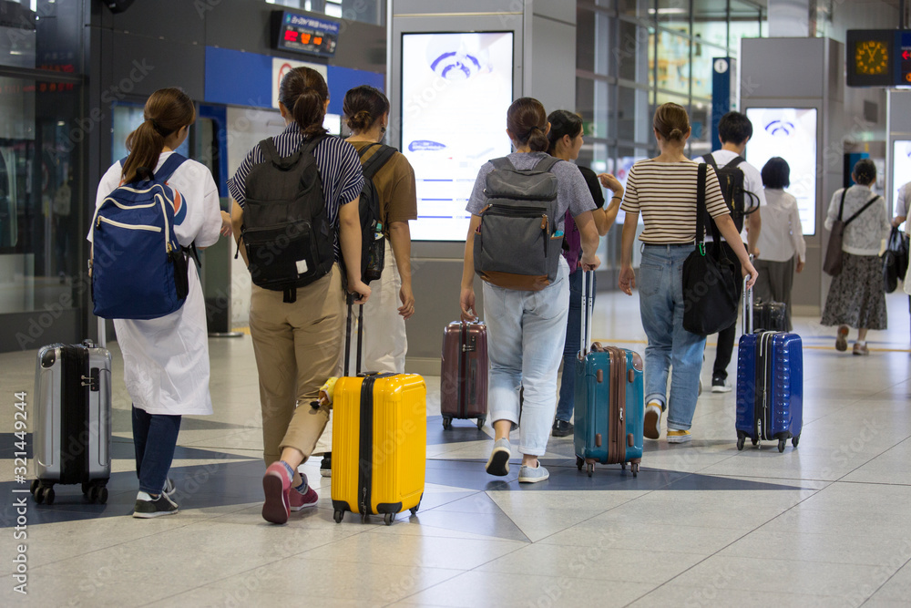 Fototapeta Foreign tourists coming to Japan, inbound image