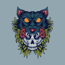 Skull Cat Vector Illustration