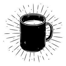 Mug. Hand Drawn Vector Illustration With Mug And Sunburst.