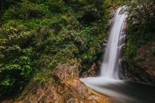 Tropical Mae Pan Waterfall In Doi Inthanon National Park In Chiang Mai.