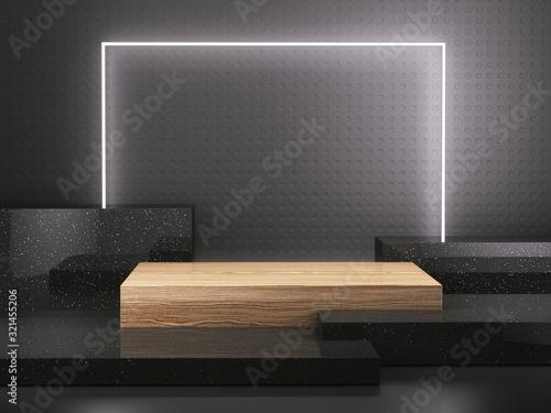 Wooden pedestal with light frame on black background, Blank Pedestal minimal con Canvas Print