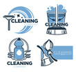 Cleaning tools and clean service isolated icons, housekeeping company