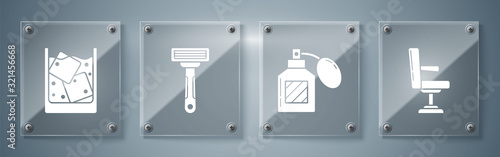 Set Barbershop chair, Aftershave, Shaving razor and Glass of whiskey and ice cubes. Square glass panels. Vector