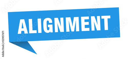 Photo alignment speech bubble. alignment ribbon sign. alignment banner