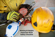 Auditor Inspecting An Inertia Reel Shock Absorbing Device With Working At Heights Inspection Book Safety Checklist Defocused  Danger Caution Tape Personal Locks Safety Helmet And Glove Prior Used