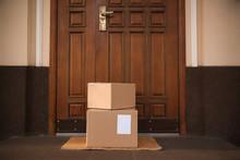 Delivered Parcels On Door Mat ...